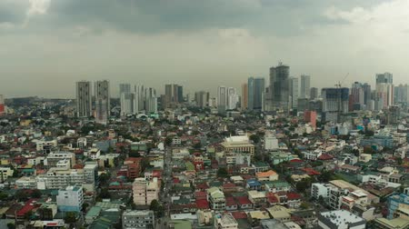 philippine : Manila city with skyscrapers, modern buildings and Makati business center, aerial drone. Travel vacation concept.