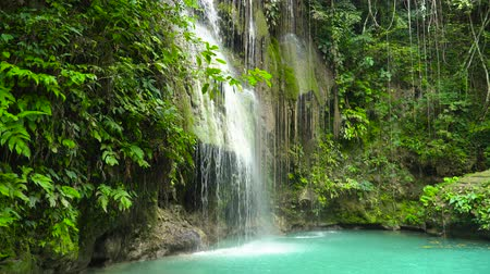 cebu : Cambais waterfalls in a mountain gorge in the tropical jungle, Philippines, Cebu. Waterfall in the tropical forest.