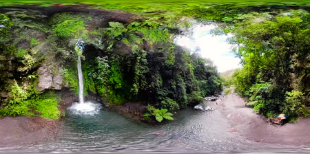 mindanao : Beautiful waterfall in green forest, 360VR aerial view. Tropical Tuasan Falls in mountain jungle. waterfall in the tropical forest. Camiguin, Philippines, Mindanao