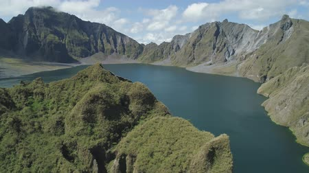 mt : Aerial view crater lake volcano Pinatubo among mountains, Philippines, Luzon. beautiful landscape at Pinatubo mountain crater lake. Travel concept