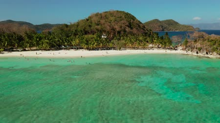 island hopping : aerial view beach with tourists on tropical island, palm trees and clear blue water. Malcapuya, Philippines, Palawan. Tropical landscape with blue lagoon