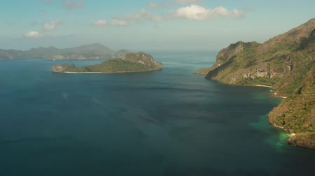 palawan : Aerial drone of Tropical landscape with islands in the blue sea, El nido. Seascape with coves and islands. Tropical Mountain Range
