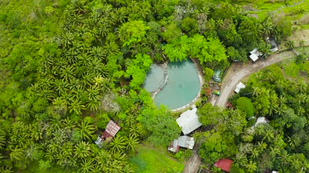 merdiven : Swimming pool with spring natural soda water in the rainforest aerial view, Camigin, Philippines. Hot spring water. Park with swimming pool and soda water for tourists, view from above. Stok Video