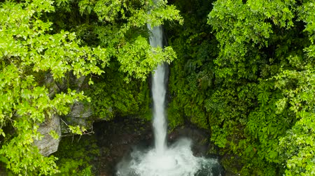 mindanao : Beautiful waterfall in green forest, aerial view. Tropical Tuasan Falls in mountain jungle. waterfall in the tropical forest. Camiguin, Philippines, Mindanao