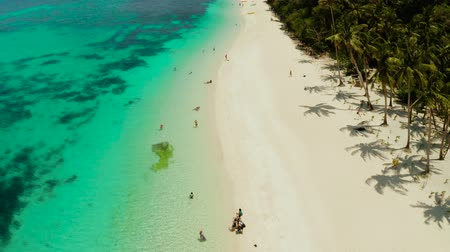 areias : Tropical beach with palm trees and turquoise waters of the coral reef, top view, Puka shell beach. Boracay, Philippines. Seascape with beach on tropical island. Summer and travel vacation concept. Vídeos