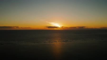 bakış : Sunrise over the sea in the tropics., top view. Sunrise over ocean. Philippines