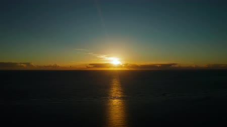 siargao : Sunrise over the sea in the tropics., top view. Sunrise over ocean. Philippines
