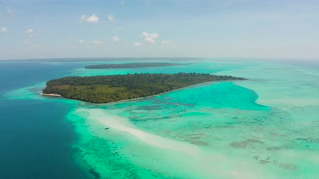 balabac : Seascape with a beautiful beach and tropical island surrounded by a coral atoll with turquoise water. Mansalangan sandbar. Summer and travel vacation concept. Balabac, Palawan, Philippines.