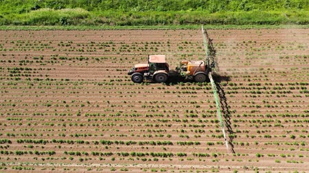 püskürtücü : Spraying with pesticides and herbicides crops aerial view. Tractor with pesticide fungicide insecticide sprayer on farm land. Stok Video