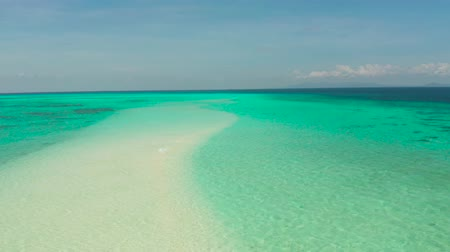 Sand bar in transparent turquoise water top view. Mansalangan sandbar, Balabac, Palawan, Philippines. Summer and travel vacation concept