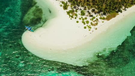 island hopping : Travel concept sandy beach on a tropical island with palm trees by coral reef atoll. Patongong Island with sandy beach. Summer and travel vacation concept.