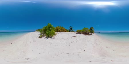 island hopping : Tropical island with sandy beach and turquoise water 360VR. Summer and travel vacation concept. Balabac, Palawan, Philippines.