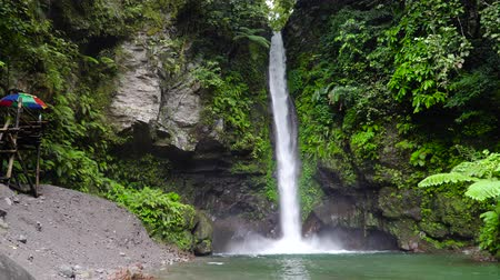 mindanao : Beautiful waterfall in green forest. Tropical Tuasan Falls in mountain jungle. waterfall in the tropical forest. Camiguin, Philippines, Mindanao Stock Footage