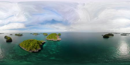 island hopping : Tropical islands and blue sea. VR 360. Hundred Islands National Park, Pangasinan, Philippines. Famous tourist attraction, Alaminos.