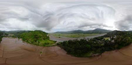 luzon : Tropical landscape with farmland and green hills, aerial view. VR 360. The nature of Luzon Island, Philippines.