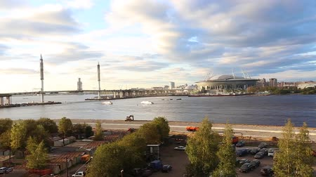 zenit : view of the River Neva and the construction of the stadium Zenit Arena on the Cross Island in St. Petersburg. September 14, 2016