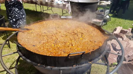biogas is the traditional Polish food. hot dish in a large saucepan. catering in the open air