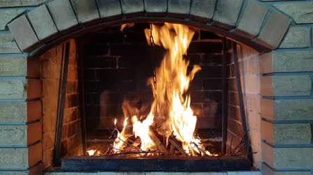 the fire burns in the fireplace. warm family evenings by the fireplace Стоковые видеозаписи