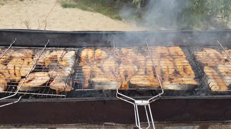 a lot of steaks from salmon roasted on the grill. cooking barbecue outdoors for a large company. catering in nature