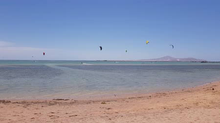 kitesurfer : kitesurfing on the sea. many kitesurfers on the water near the sea coast. water activities Stock Footage