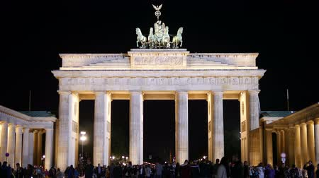 gates : 4K video of Brandenburg Gate at Night with tourist in Berlin