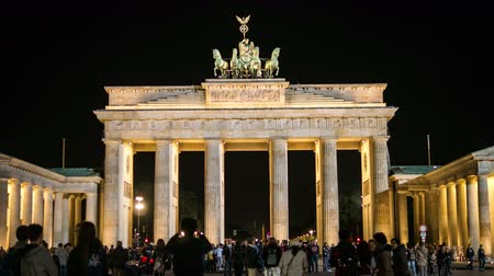 gates : Time-lapse Brandenburg Gate At Night 4K. Travelling. Tourist Stock Footage