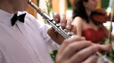 flutist : Musician plays the flute. Flutist professionally playing the flute in the wedding party Stock Footage