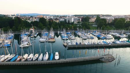 motorbot : Aerial View of Yacht Club and Marina in Friedrichshafen, Germany on the northern shoreline of Lake Constance - Bodensee Stok Video