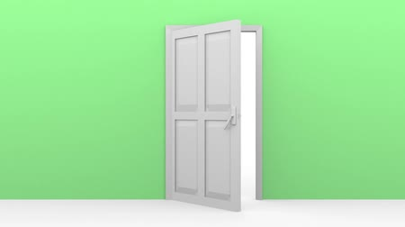 opening : A door opening in a green wall Stock Footage