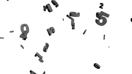 gray numbers falling isolated on white Stock mozgókép
