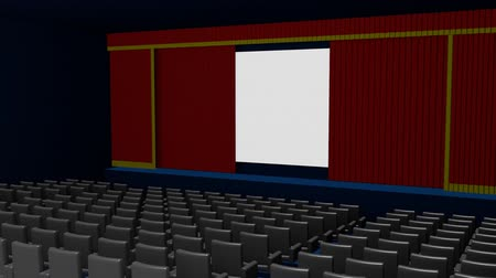 Empty cinema or movie theater with a customizable blank screen and red curtains opening.