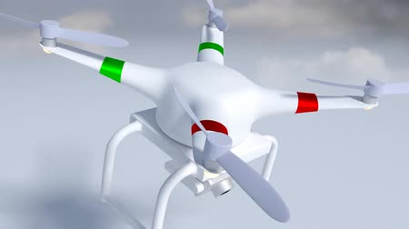 White drone equipped with a photographic camera to make aerial photography and video