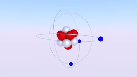 3d model of the nucleus of an atom with protons and neutrons surrounded by orbiting electrons