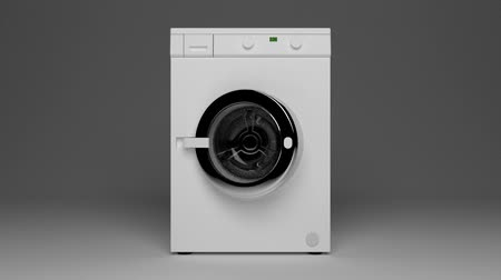 Domestic washing machine opening door ready to receive dirty clothes.