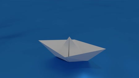 Paper boat floating on a wavy sea. Craft made origami ship floating in the water. 3d render, 3d illustration Stock mozgókép