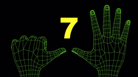 Wireframe futuristic hands ten seconds countdown