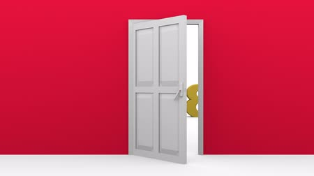 A door in a red wall opening to introduce new year 2018 Stock mozgókép