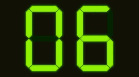 Ten second time countdown from 10 to 0 in an electronic display with numbers in green phosphor
