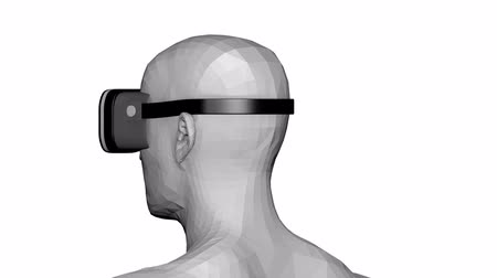 Futuristic human head wearing vr headset for immersive experience in augmented reality. Stock mozgókép