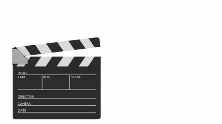 Cinema slate clapper board in motion on a white background. cinematography concept