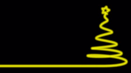 Merry christmas tree made with neon light in glowing yellow
