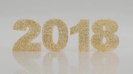 New year 2018 made with little golden tiles