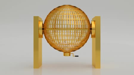 Golden lottery cage. Lotto Bingo. National lottery with blank balls in white. National lottery. 3d render, 3d illustration
