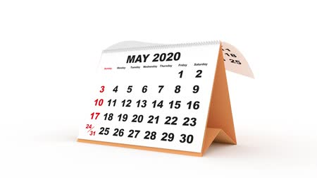 monthly sheets passing in the calendar desk for 2020. new year 2020 calendar in english. Week starts on sunday Stock mozgókép