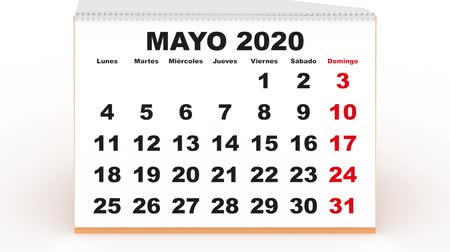yıllık : monthly sheets passing in a desk calendar for 2020. new year 2020 calendar in spanish. Week starts on monday Stok Video