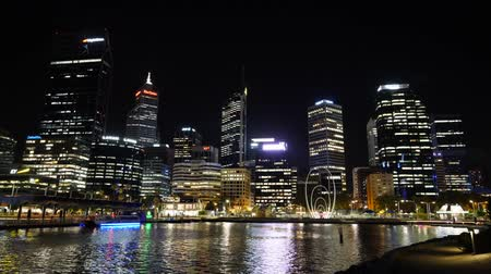 point of interest : Time laps video of the skyline of Perth at night, Western Australia