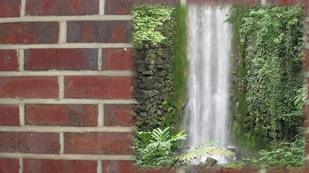 queda de neve : Four seasons title sequence on brick wall, loop