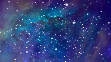 yolları : Colorful space background with nebula and flying stars