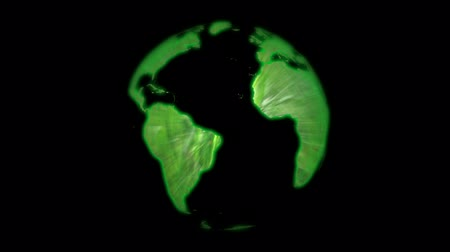 környezeti : Green globe made with glowing grass, loop Stock mozgókép