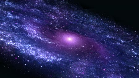 solar : Zoom out from a purple galaxy with moving stars